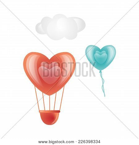 Vector Happy Valentines Day Heart Symbols Icon Set. Red, Blue Hot Air Balloon Heart Shape, Cloud. Ro