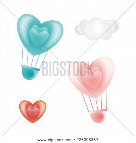 Vector Happy Valentines Day Heart Symbols Icon Set. Hot Air Balloon Heart Shape, Heart Icon, Cloud.