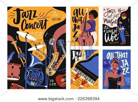 Collection Of Poster, Placard And Flyer Templates For Jazz Music Festival, Concert, Event With Music