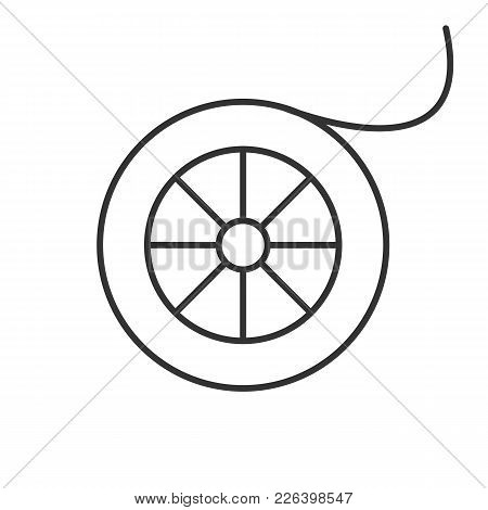 Fishing Line Spool Linear Icon. Thin Line Illustration. Angling Equipment. Contour Symbol. Vector Is