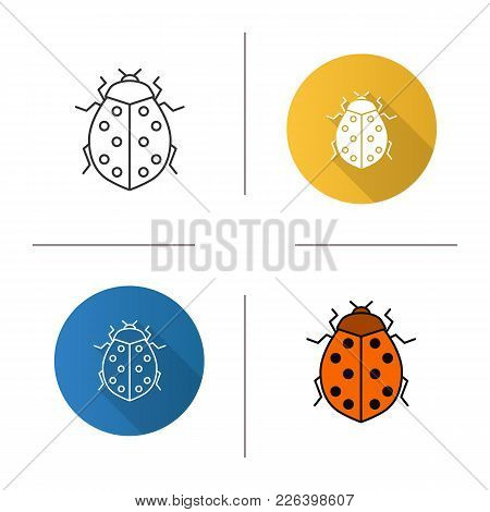 Ladybug Linear Icon. Ladybird. Insect. Flat Design, Linear And Color Styles. Isolated Vector Illustr