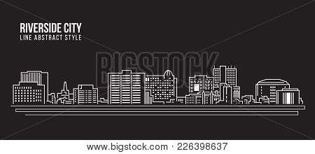 Cityscape Building Line Art Vector Illustration Design -riverside City California