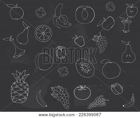 Drawing On The Blackboard. Fruits And Vegetables Are Drawn In Chalk On A Blackboard