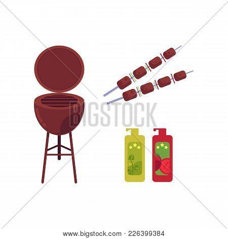 Vector Flat Barbecue, Bbq Symbols Set. Meat At Skewer, Coal Grill, Grilling Basket, Steel Grid Musta