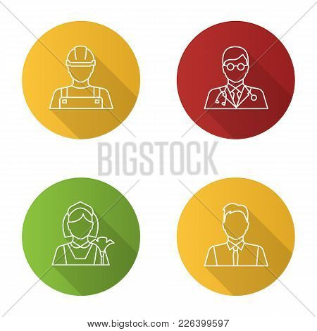Professions Flat Linear Long Shadow Icons Set. Occupations. Builder, Doctor, Maid, Showman, Office W