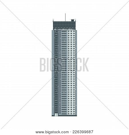 Vector Flat Building Icon. Modern Business Architecture. Office Apartment, Residential Construction.