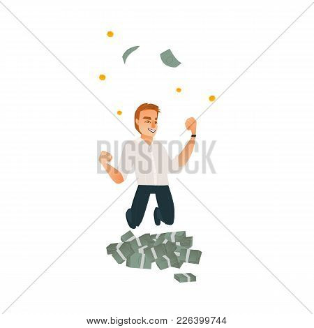 Happy Man, Businessman In Formal Suit Celebrating Success, Jumping Under Money Rain, Flat Cartoon Ve