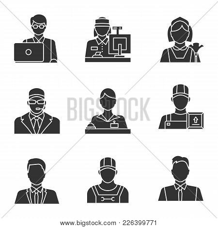Professions Glyph Icons Set. Occupations. Plumber, Deliveryman, Receptionist, Bodyguard, Maid, Showm