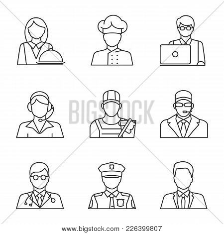 Professions Linear Icons Set. Waitress, Cook, It Technologist, Call Center Operator, Cleaner, Bodygu