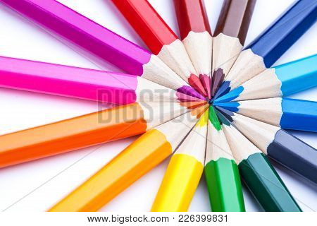 Circle Of Sharpened Colored Pencils On A White Background. Color Palette