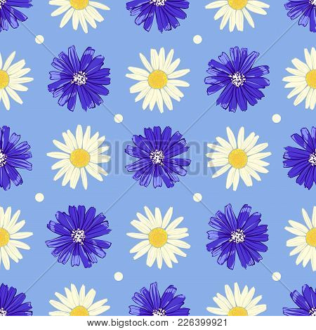 Floral Seamless Pattern With Chicory And Camomile Isolated On Blue Background. Cute Flowers. Summer