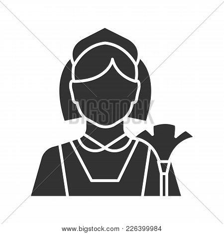 Maid Glyph Icon. Cleaner. Housekeeping. Silhouette Symbol. Negative Space. Vector Isolated Illustrat