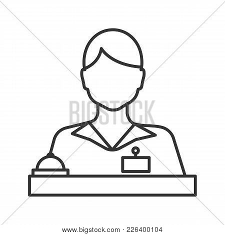 Receptionist Linear Icon. Secretary, Manager. Thin Line Illustration. Contour Symbol. Vector Isolate