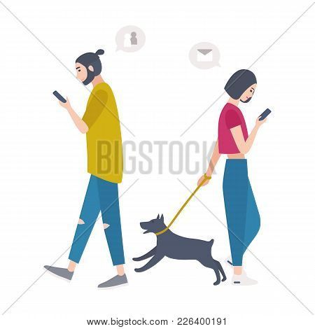 Young Woman Walking Dog On Leash And Man Passing By Each Other, Looking At Their Mobile Phones And C