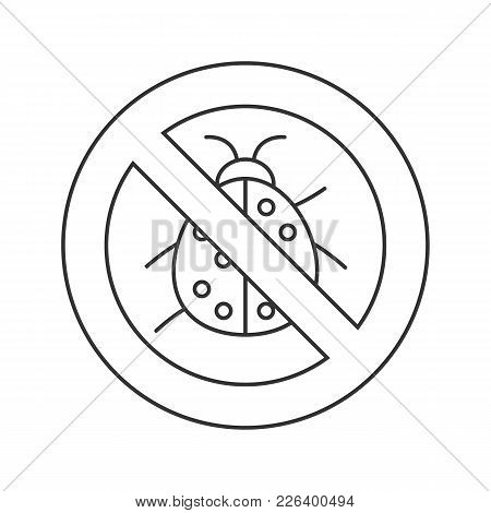 Forbidden Sign With Ladybug Linear Icon. No Insects Repellent. Stop Contour Symbol. Thin Line Illust