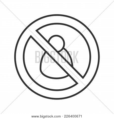 Man In Prohibition Circle Linear Icon. Thin Line Illustration. Forbidden Sign With User. Stop Contou