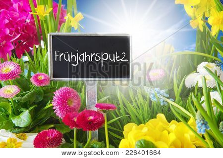 Sign With German Text Fruehjahrsputz Means Spring Cleaning. Sunny Spring Flower Meadow With Daisy, N
