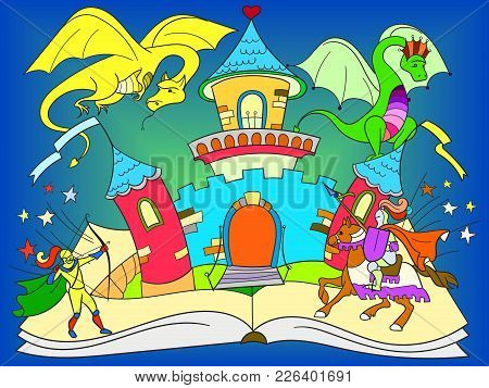 Color Fairy Open Book Tale Concept - Kids Illustration With Evil Dragon, Brave Warrior And Magic Cas