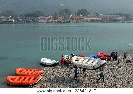 Rishikesh, India - November, 7th, 2017. Rafting On The Ganga River In Rishikesh