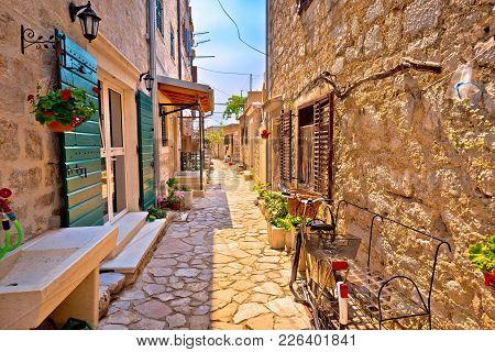 Colorful Mediterranean Stone Street Of Prvic Island, Sibenik Archipelago Of Croatia