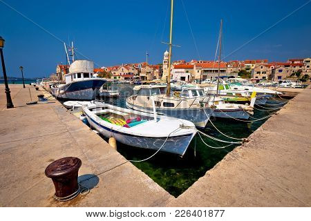Island Of Prvic Harbor And Waterfront View In Sepurine Village, Sibenik Archipelago Of Croatia