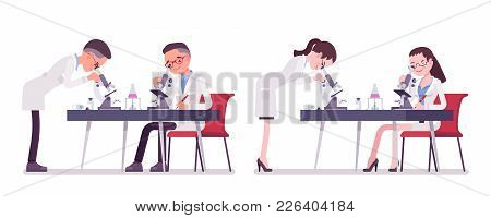 Male And Female Scientist With Microscope. Expert Of Physical Or Natural Laboratory In White Coat At