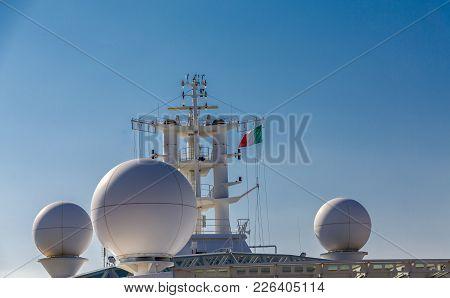 Italian Flag By Ships Radar On Cruise Ship