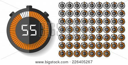 Stopwatch Icons Set In Flat Style, Timers On White Background. Sport Clock. Vector Design Element Fo