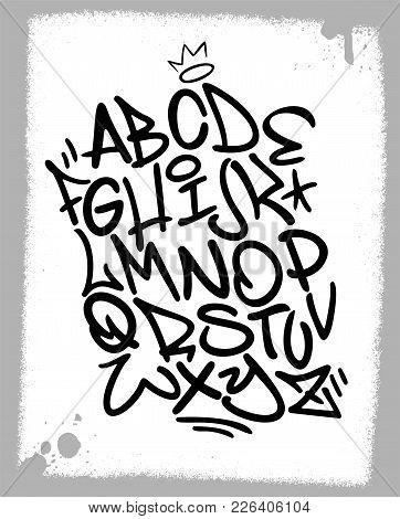 Handwritten Graffiti Font Alphabet. Artistic Hip Hop Typography Collection. Custom Vector Calligraph