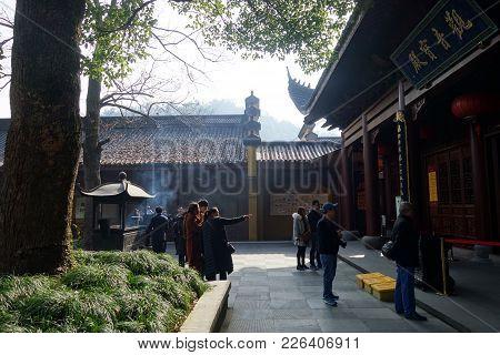 Hangzhou, China-jan 14, 2018: Devotees Visit The Lingyin Temple In Hangzhou, China. Buddhism Is Enjo