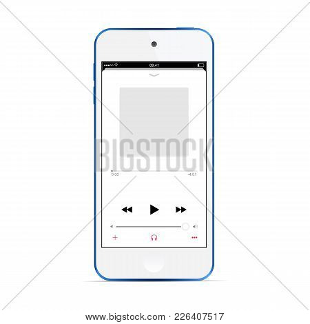 Music Player Concept Redesign. Mobile App Interface Template Isolated On White Background - Front Vi