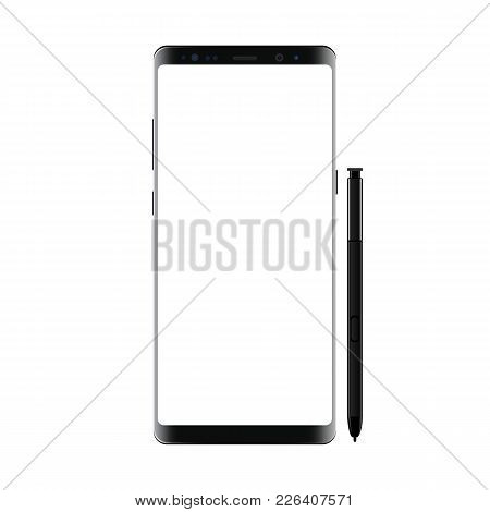 Black Modern Smartphone With Stylus Isolated On White Background. Cellphone Mockup With Blank Screen
