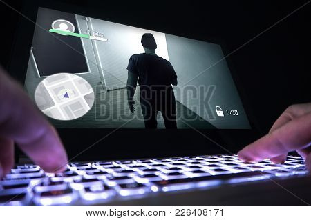Playing Video Game With Laptop. Computer And Online Gaming Concept. Competitive Gaming, Electronic S
