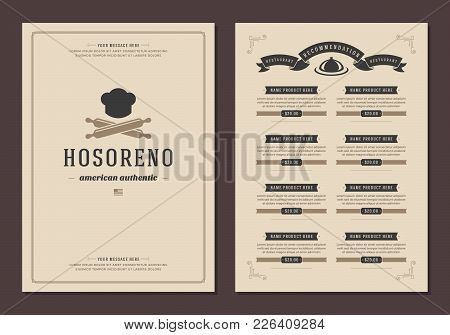 Restaurant Logo And Menu Cover Design Vector Brochure Template. Chef Cook Hat Silhouette.
