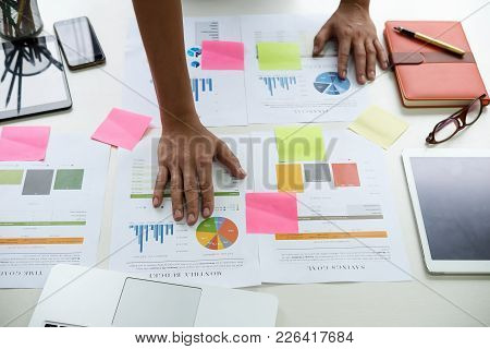 Asian Business Man Hand Holding Note Paper Meeting Working With New Startup Project Use Post It Note