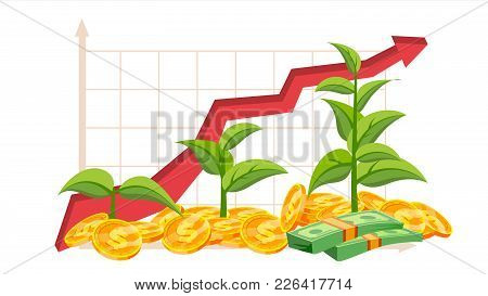 Startup Growth Concept Vector. Tree Growing On A Golden Coins. Growth Graph. Success Aim Reaching. G