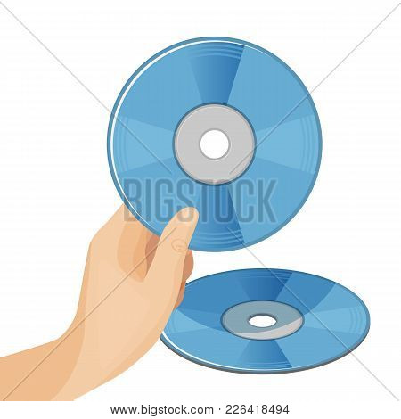 Dvd Digital Video Disc Or Versatile Optical Discs Storage In Round Shape Format In Human Hand Vector