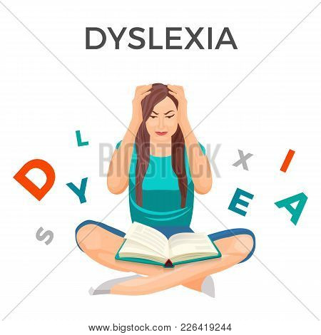 Dyslexia Mental Disorder Conceptual Vector Illustration With Woman Having Trouble With Reading Despi