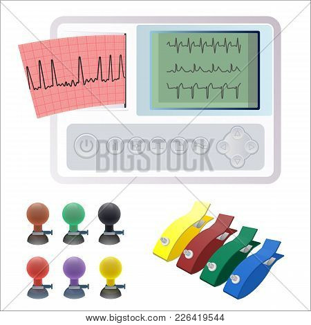 Electrocardiography Ecg Or Ekg Machine Recording Electrical Activity Of Heart Using Electrodes Place