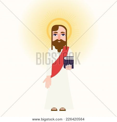 Jesus Christ Cartoon Character With Light Halo. Stock Vector Illustration Of A Religious Personality