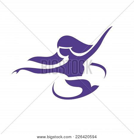 Girl Dancing With Dove Abstract Sign Isolated On White Background