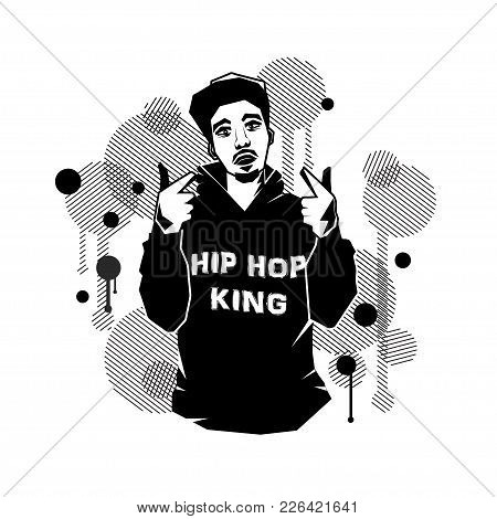 Young Male Hip Hop Singer With Pointing Hands Isolated On White Background. Stock Vector Illustratio
