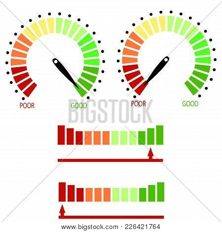 Set Of Credit Raiting Meter Isolated On White Background. Colorful Gauges Scales With Black Arrow