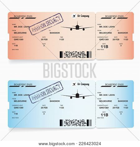 Red And Blue Vector Templates Of Boarding Pass Tickets. Concept Of Trip Or Travel