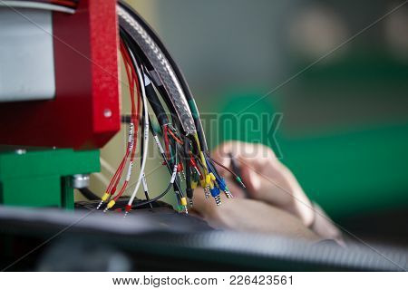 Hands Of Electric - Working With Different Wires - Close Up
