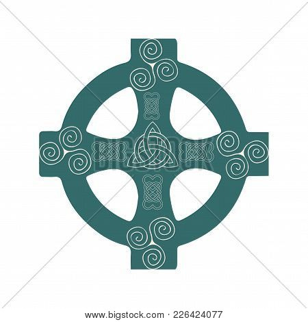 Celtic Wheel Cross Isolated Vector Illustration. Variation Of Traditional Ringed Cross With Celtic K