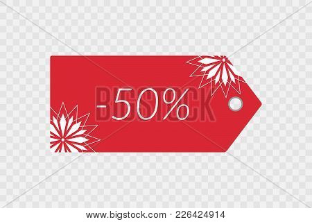 50 Percent Off Shopping Tag Vector Icon. Isolated Red And White Decorative Discount Symbol For Merch