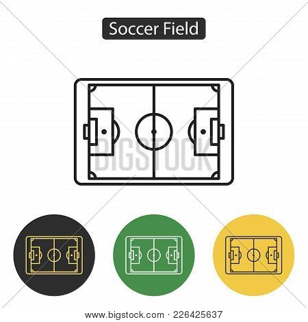 Soccer Field Icon. Simple Flat Stadium Pictogram. Football Field Image. Sport Accessories Collection
