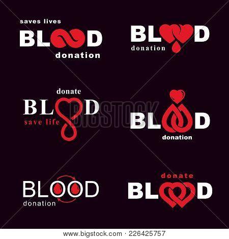 Set Of Vector Blood Donation Conceptual Illustrations. Hematology Theme, Medical Treatment Designs F