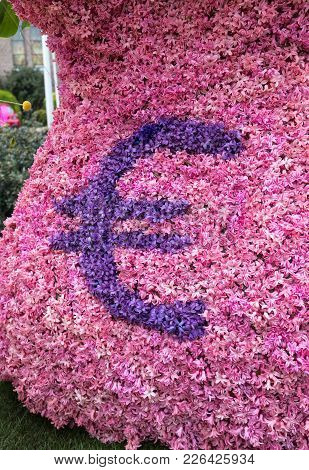 Noordwijkerhout, Netherlands - April 21,  2017: Euro Currency Logo Made Of Hyacinths At The Traditio